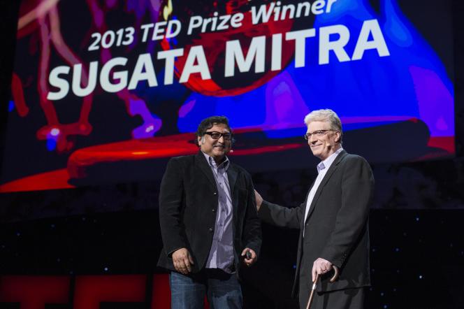 L'anglaisKen Robinson (à droite), star mondiale des innovateurs. A ses côtés l'indien Sugata Mitra, inventeur de« l'école dans les nuages».