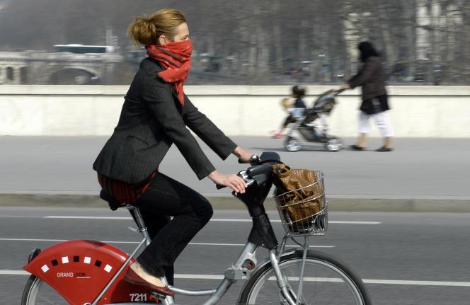Une cycliste lors d'un épisode de pollution à Lyon le 14 mars 2014.