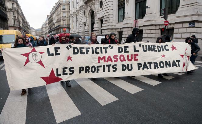 Manifestation contre le déficit de l'Unedic (décembre 2014).