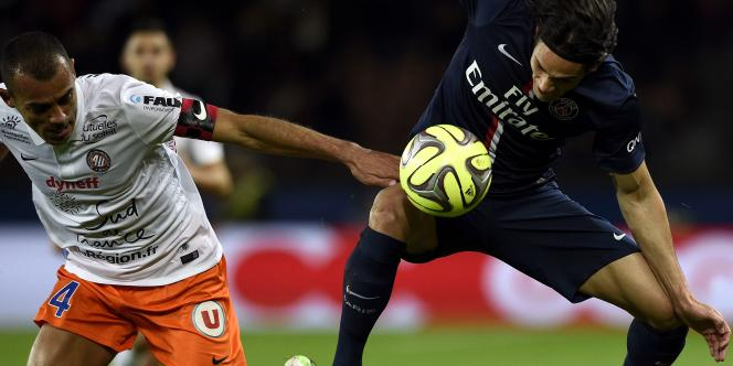 Edinson Cavani face au Montpelliérain Vitorino Hilton, samedi 20 décembre.