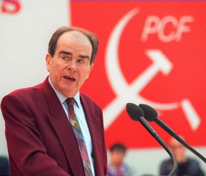 Le secrétaire général du Parti communiste Georges Marchais, en janvier 1994.