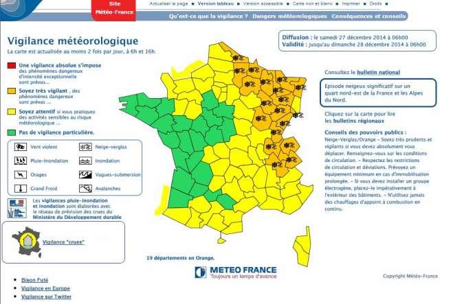 La carte de vigilance de Météo France pour le 27 décembre 2014.
