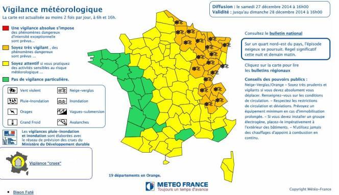 La carte de vigilance orange pour la neige du samedi 27 décembre, publiée à 16 heures.