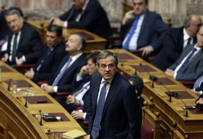 Le premier ministre grec, Antonis Samaras, lors de l'élection présidentielle, le 29 janvier.