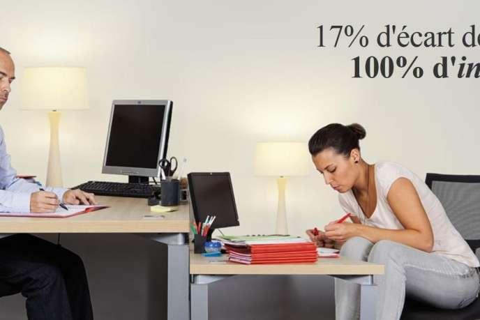 Chez Bouygues construction, depuis deux ans, la part de femmes cadres de premier niveau augmente, 31 % fin 2013, contre 28 % fin 2010 (photo: campagne pour la parité entre les femmes et les hommes, du Laboratoire de l'égalité).