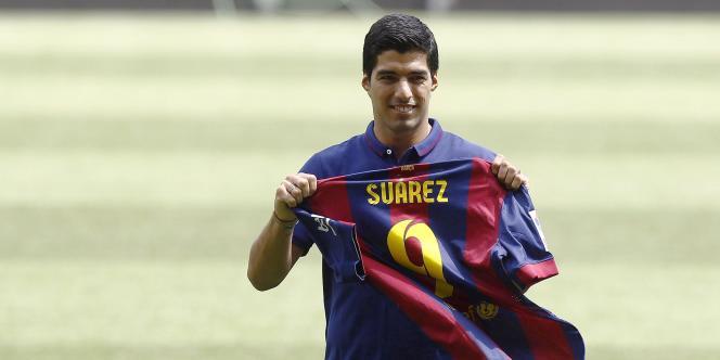 L'Uruguayen Luis Suarez, dernière grosse recrue du Barça, en août 2014.