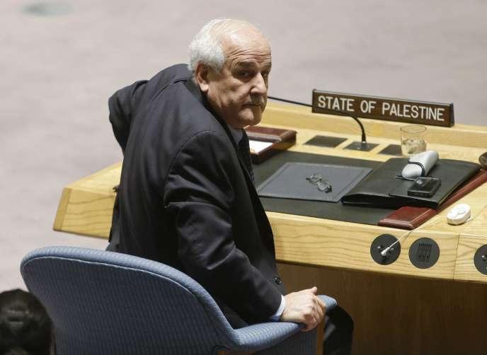 L'ambassadeur palestinien à l'ONU, Riyad Mansour, au Conseil de sécurité de l'ONU, mardi30décembre.
