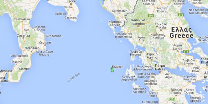 La dernière position reçue de l'Ezadeen, à la dérive avec 450 migrants à bord.