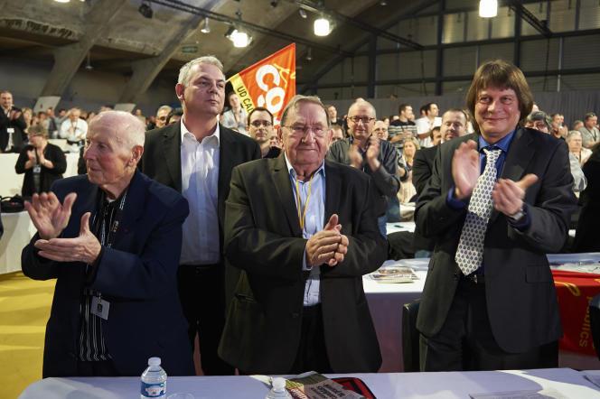 Georges Séguy, Thierry Lepaon, Louis Viannet et Bernard Thibault au 50e congrès de la CGT, en mars2013.