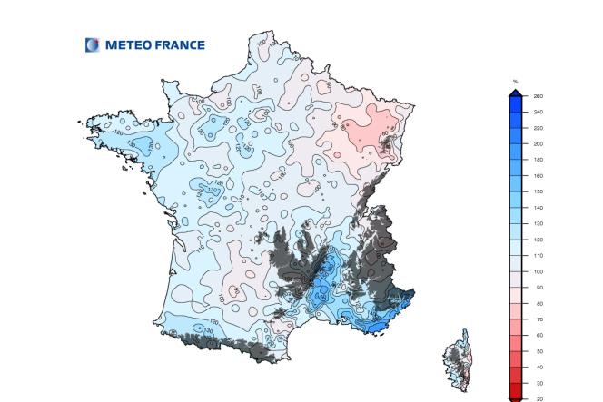Cumul de précipitations en 2014, par rapport à la moyenne de référence1981-2010.