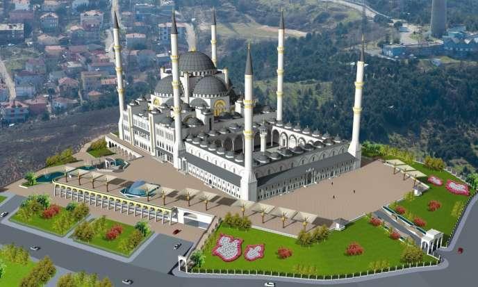 Vue d'artiste de la future mosquée deCamlica, surla rive asiatique duBosphore, àIstanbul.