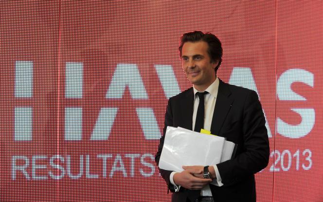 Yannick Bolloré, PDG de l'agence de communication Havas, au siège du groupe à Puteaux, en mars 2014.