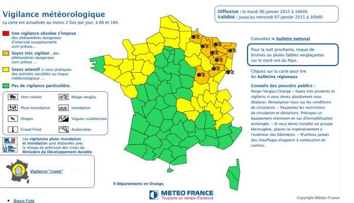 Neuf départements de l'Est ont été placés en alerte orange neige-verglas le 6janvier.