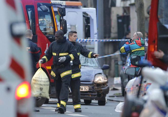 A Montrouge (Hauts-de-Seine), après le meurtre d'une jeune policière le 8 janvier.