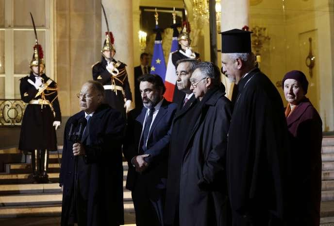 Les représentants des cultes, après leur rencontre avec François Hollande, mercredi 7 janvier.