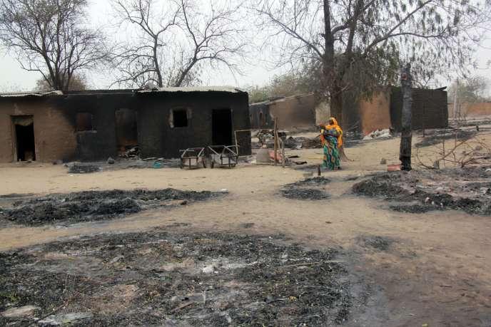 A Baga, dans le nord-est du Nigeria, en avril 2013, après deux jours d'affrontements entre l'armée et Boko Haram.
