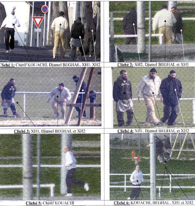 Sur le cliché en bas à droite sont identifiés Djamel Beghal, en arrière plan, et Chérif Kouachi au premier plan.