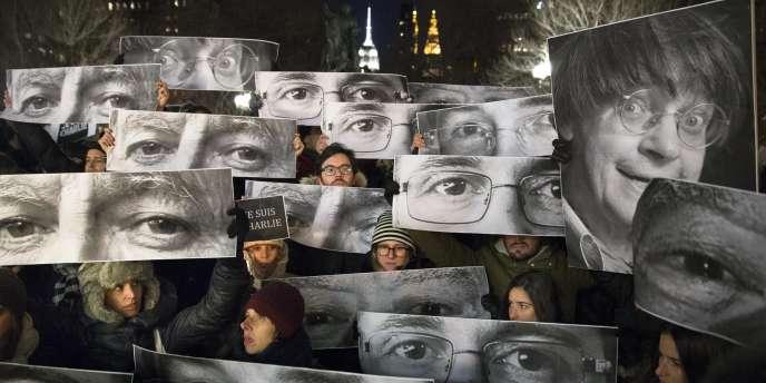 Rassemblement en soutien à Charlie Hebdo à Union Square, New York.