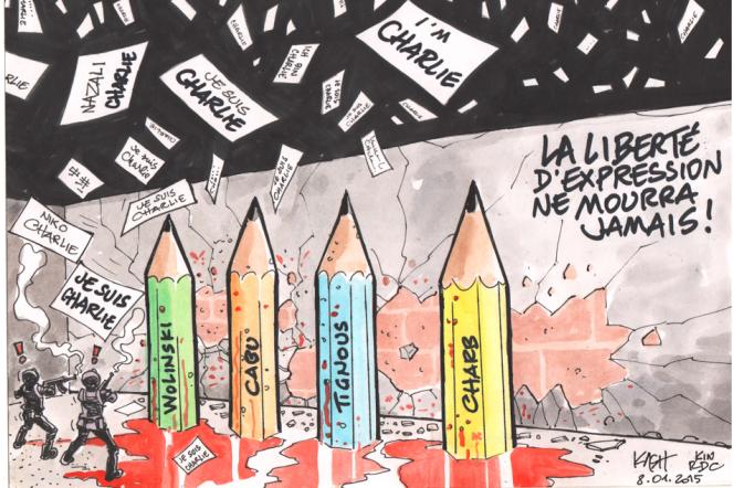 Un dessin du congolais Kash en hommage à Charlie Hebdo.