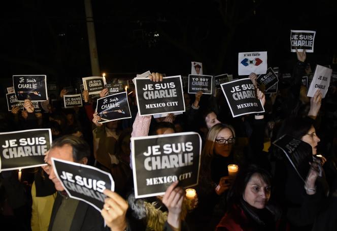 Le 8 janvier devant l'ambassade de France à Mexico.