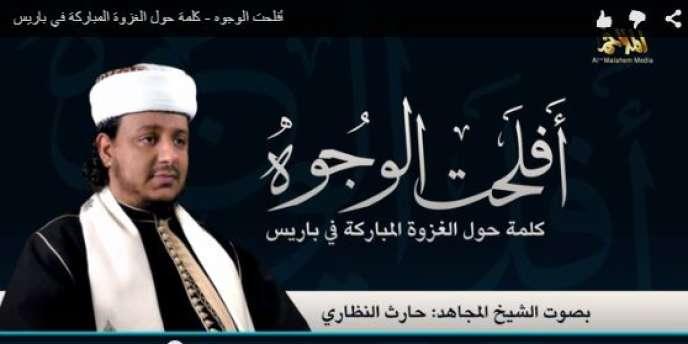 L'un des leaders d'Al-Qaida dans la péninsule Arabique (AQPA), Harath Al-Nazari, s'est « félicit[é] » de l'attaque menée par les frères Chérif et Saïd Kouachi contre «Charlie Hebdo», mercredi 7 janvier, dans une vidéo diffusées vendredi et relayée par le site de surveillance des médias djihadistes SITE.
