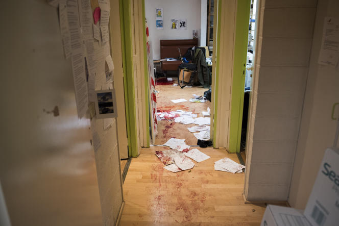 In the office of Charlie Hebdo, in Paris, after the killing of wednesday, 7th of January.