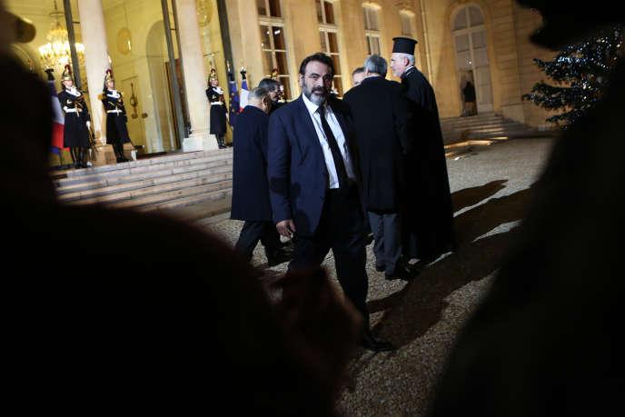 Joël Mergui, président du Consistoire central israélite de France, à l'Elysée à l'occasion des vœux de François Hollande aux autorités religieuses, jeudi 8 janvier.