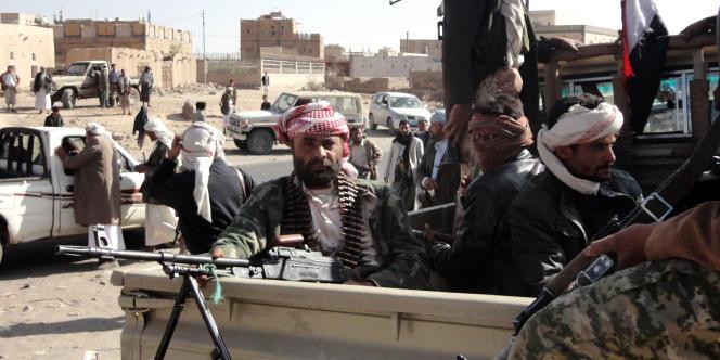 Des partisans d'Al-Qaida au Yémen, à Rada, en janvier2012. Cette ville du sud du pays était alors tenue par l'organisation djihadiste.