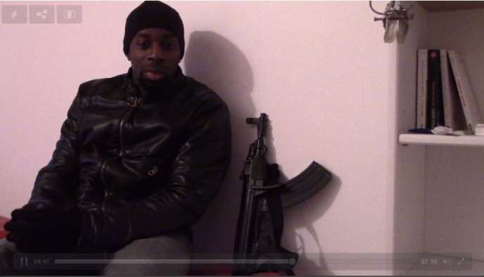 Capture de l'enregistrement d'Amedy Coulibaly dans lequel il revendique l'attentat de Montrouge, diffusée dimanche 11 janvier sur Internet.