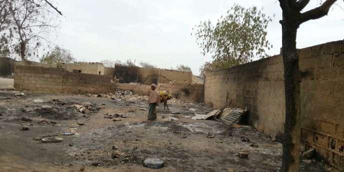Une jeune fille debout au milieu des ruines de la localité de Baga, le 21 avril 2013.