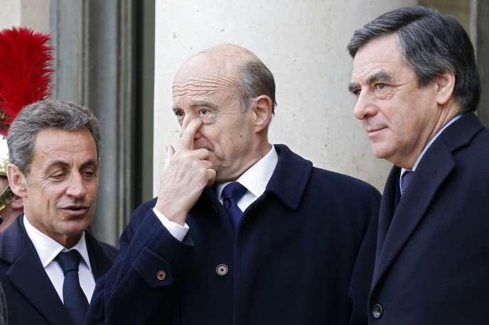 Nicolas Sarkozy, Alain Juppé et François Fillon à Paris, en janvier 2015.