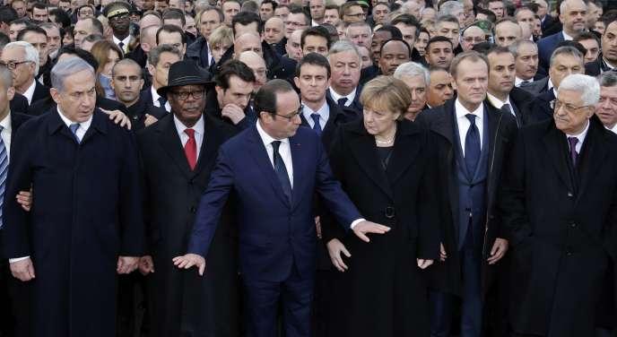Les chefs d'Etat et de gouvernement à Paris, lors de la marche républicaine du 11 janvier.