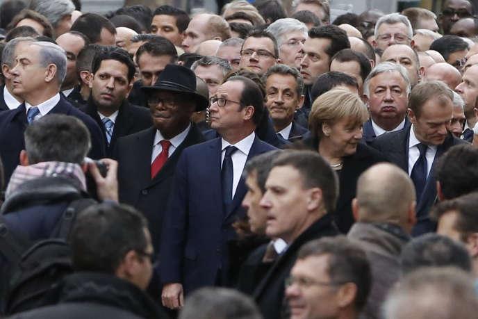 Lors de la marche républicaine organisée à Paris en hommage aux victimes des attentats, le 11 janvier.