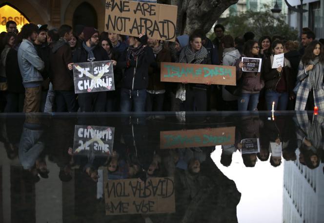 Manifestation à Beyrouth, le 11 janvier 2015, de militants et d intellectuels.