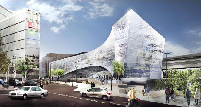 La projet de l'agence Snohetta, qui a été retenu.  L'immeuble-pont comptera sept niveaux, sur 37 mètres de hauteur et 22 500 m2 de plancher.