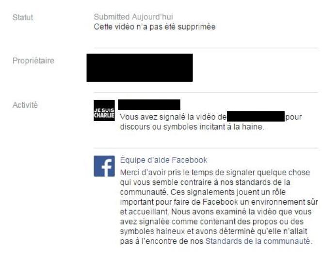 La réponse de Facebook.