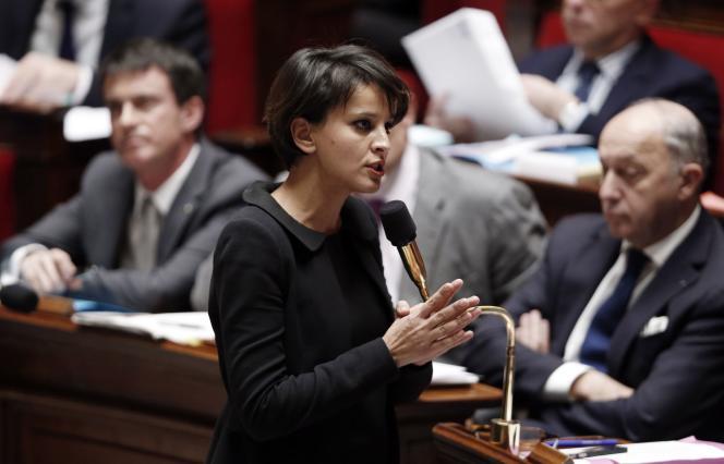Najat Vallaud-Belkacem, ministre de l'éducation nationale, à l'Assemblée, le  14 janvier.