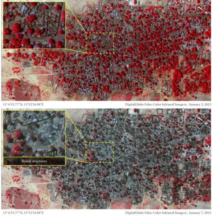 Images satellites de Baga : en haut, une vue du 2 janvier, avant les attaques. En bas, une vue du 7 janvier, après le passage de Boko Haram. Une zone en particulier passe du rouge au gris, montrant l'importance des destructions.