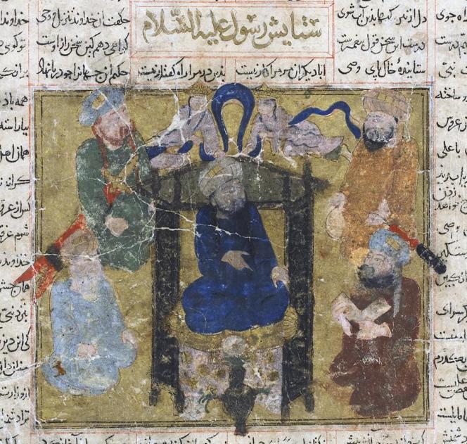Le Prophète assis sur un trône, surmonté par les anges et entouré de ses compagnons. Illustration du Livre des rois du poète persan Ferdowsi, probablement exécutée à Chiraz au début du XIVe siècle.