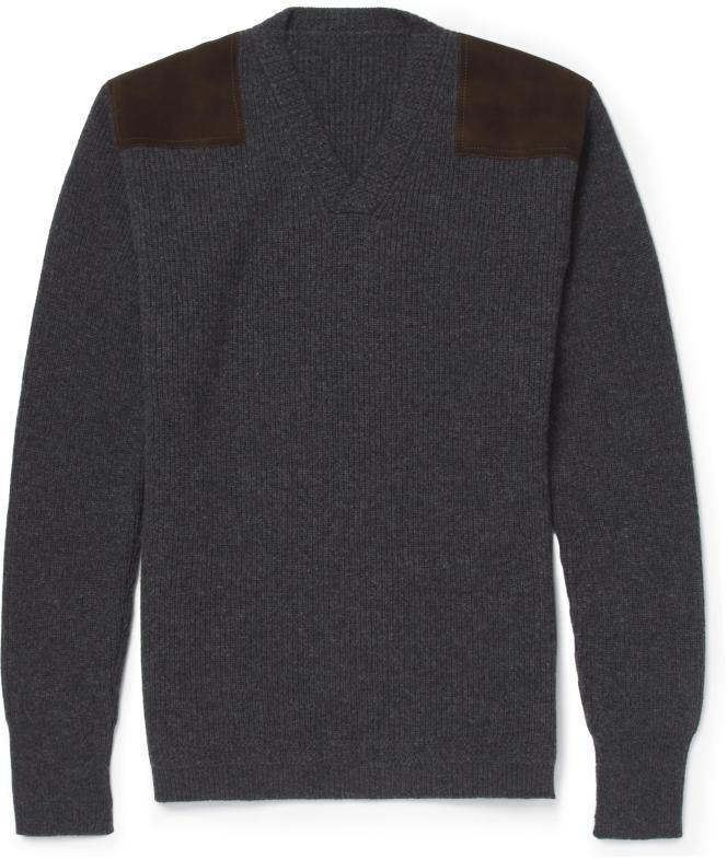 Pull-over en laine avec pièces de cuir suédé sur les épaules, Kingsman.