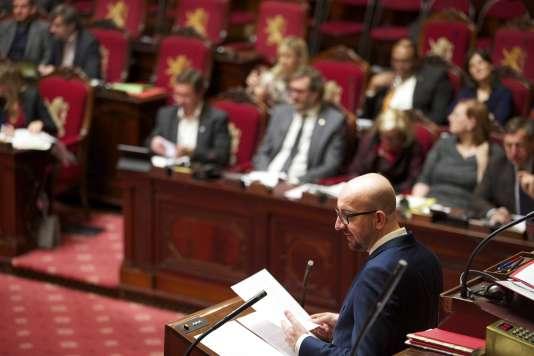 Le premier ministre belge, Charles Michel, en séance plénière devant le Parlement, enjanvier.