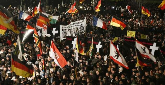 Rassemblement de Pegida à Dresde le 19 janvier.