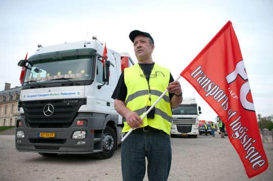 Grève des routiers, le 18janvier, pour réclamer des augmentations de salaire.