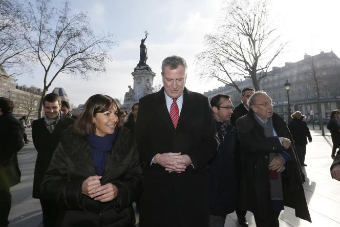 Anne Hidalgo et le maire de New York Bill de Blasio à Paris le 20 janvier.