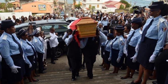 Cérémonie des obsèques de Clarissa Jean-Philippe à Sainte-Marie en Martinique, lundi.