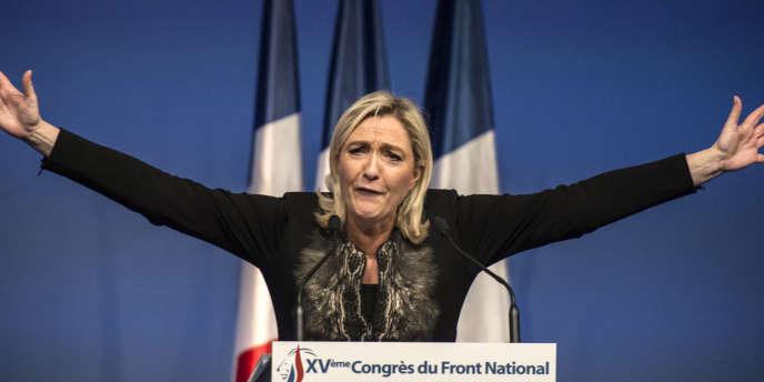 Marine Le Pen lors d'un congrès du Front national à Lyon en novembre 2014.
