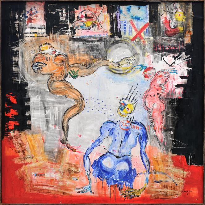 Dominique Zinkpè: Cotonou by night, 2011. Pigments, pastel gras, crayon, acrylique et collage sur toile. 150 x 150 cm. Pièce unique.