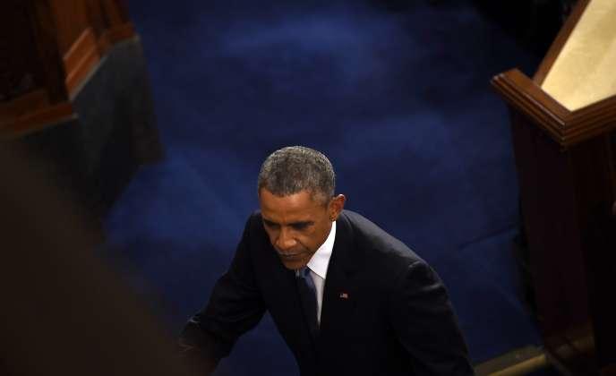 Barack Obama avant son discours, le 20 janvier à Washington.