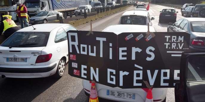 Grève des routiers à Rennes, le 19janvier.