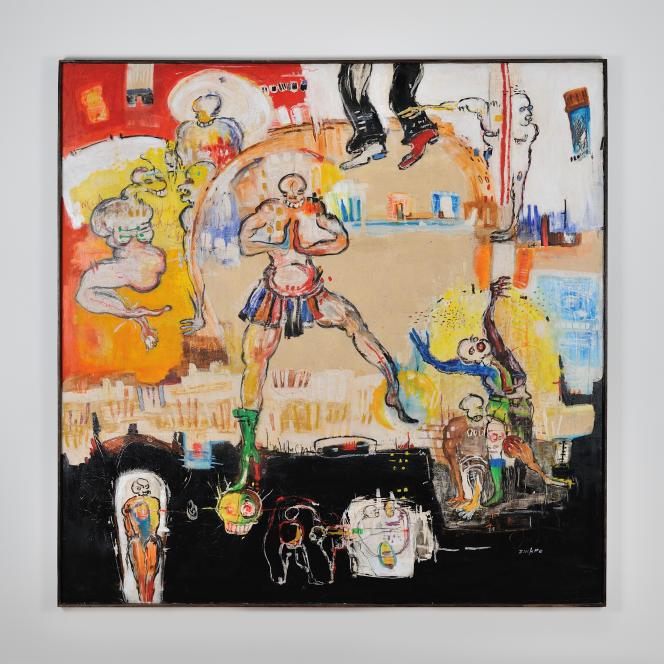 Dominique Zinkpè: Cérémonie, 2012. Pigments, pastel gras, crayon, acrylique et collage sur toile. 200 x 200 cm. Pièce unique.
